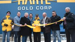 Cutting the ribbon at Harte Gold's Sugar Zone gold mine in Ontario, from left: Timothy Campbell, Harte Gold VP and corporate secretary; Greg Rickford, Ontario Minister of Energy, Mines, Northern Development and Indigenous Affairs; Doug Ford, Premier of Ontario; Jeff Desmoulin, former chief of Pic Mobert First Nation; Stephen Roman, Harte Gold president and CEO; Angelo Bazzoni, mayor of White River; Louis Kwissiwa, acting chief of Pic Mobert First Nation; and Roger Emdin, Harte Gold VP of operations. Credit: Harte Gold.