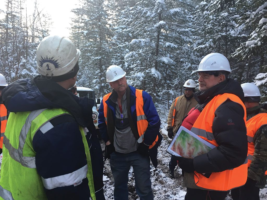 IG Copper president and CEO Thomas Bowens (centre) at the Malmyzh copper project in 2016. Photo by The Northern Miner.