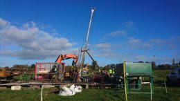 Driller at work on Group Eleven Resources' Stonepark zinc property near Limerick in the Republic of Ireland.  Photo by Richard Quarisa