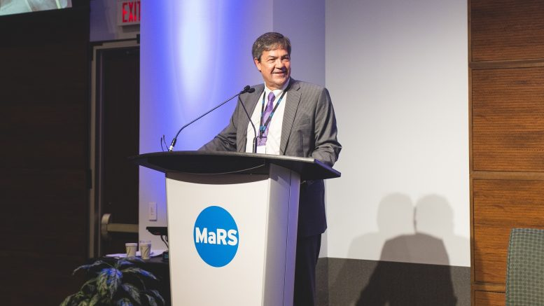 Rick Howes, president and CEO of Dundee Precious Metals, speaking at The Northern Miner's Progressive Mine Forum at the MaRS Discovery District in Toronto in October 2018. Photo by George Matthew Photography.