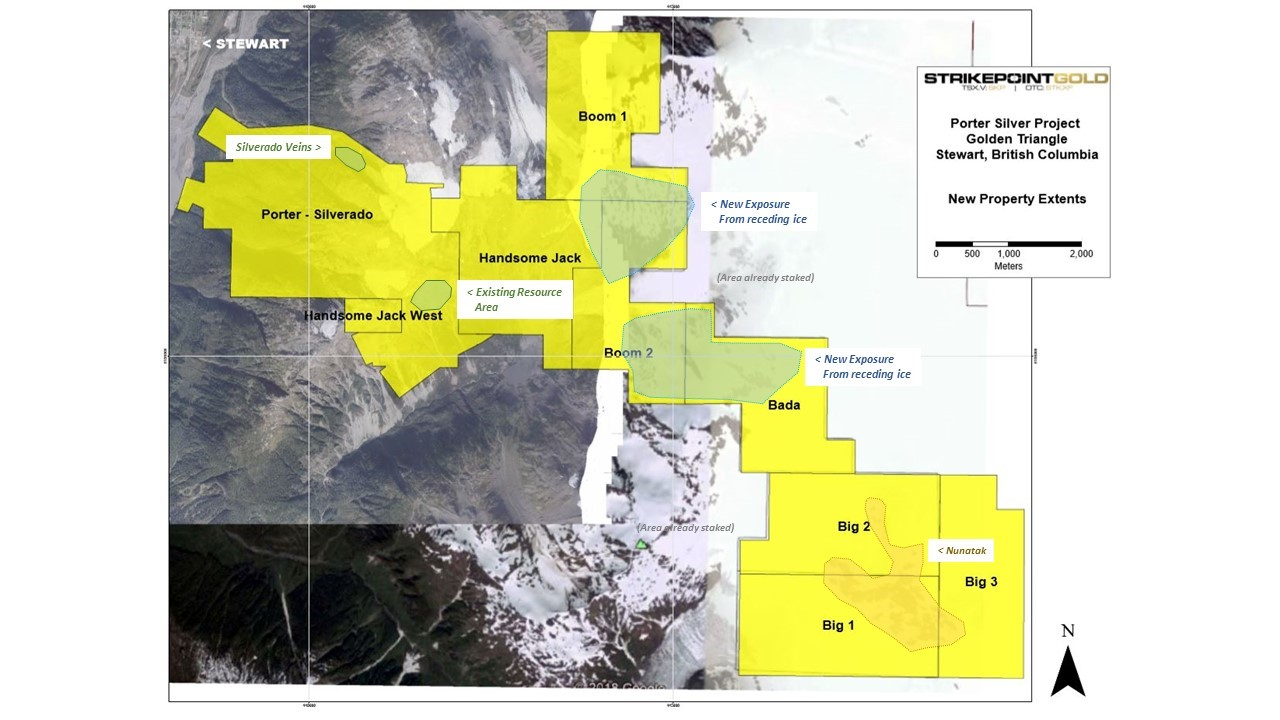 A map showing the 33 sq. km area Strikepoint consolidated in B.C.'s Golden Triangle in 2018. Credit: Strikepoint Gold.