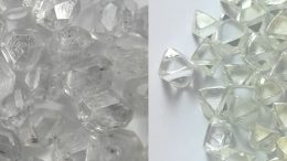 Visual comparison of laboratory-created diamonds (left) versus natural diamonds. Credit: Paul Ziminisky.