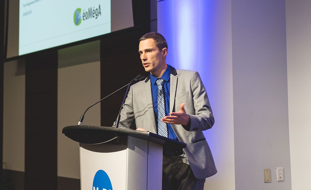 GéoMégA president and CEO Kiril Mugerman speaks at the Progressive mine Forum. Photo by George Matthew Photography.