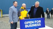 From left: Greg Rickford, Minister of Energy, Northern Development and Mines; Stephen Roman, Harte Gold president and CEO; and Doug Ford, premier of Ontario. Photo by Trish Saywell.