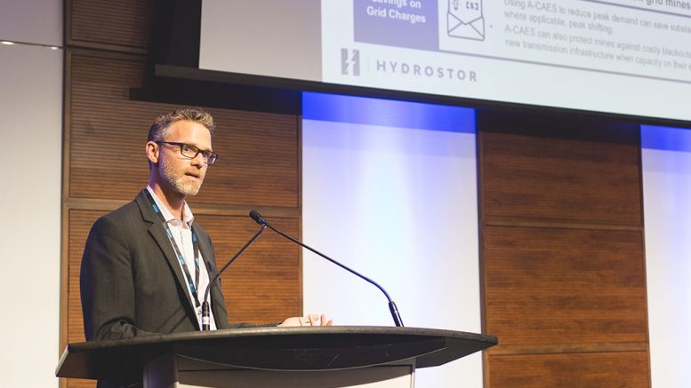 Hydrostor president and CEO Jon Norman speaks at the Progressive Mine Forum. Photo by George Matthew Photography.