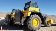 Trucks at the Lindero project. Credit: Fortuna Silver Mines.