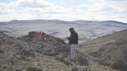 Project geologist Oscar Pederson surveying a control point for drone flights, which will collect high-resolution images and an elevation model, ahead of the next drill program at Mirasol Resources' Nico gold-silver project in Argentina. Credit: Mirasol Resources.