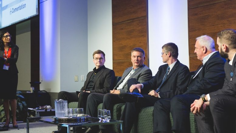 Speaking on automation at the Progressive Mine Forum at the MaRS Discovery District in Toronto in October 2018, from left: Alisha Hiyate, Canadian Mining Journal editor-in-chief; Mikko Koivunen, Sandvik Mining and Rock Technology's business line manager for automation; Walter Siggelkow, Hard-Line's president and founder; Jason Cox, Roscoe Postle Associates' executive vice-president of mine engineering; Douglas Morrison, Centre for Excellence in Mining Innovation's president and CEO; and Daniel Lucifora, Goldcorp's manager of mine automation. Photo by George Matthew Photography.