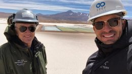 Millennial Lithium COO Iain Scarr (left) and Ergy Solar CEO Baltazar Robles at the Pastos Grandes lithium property in Argentina's Salta province. Credit: Millennial Lithium.