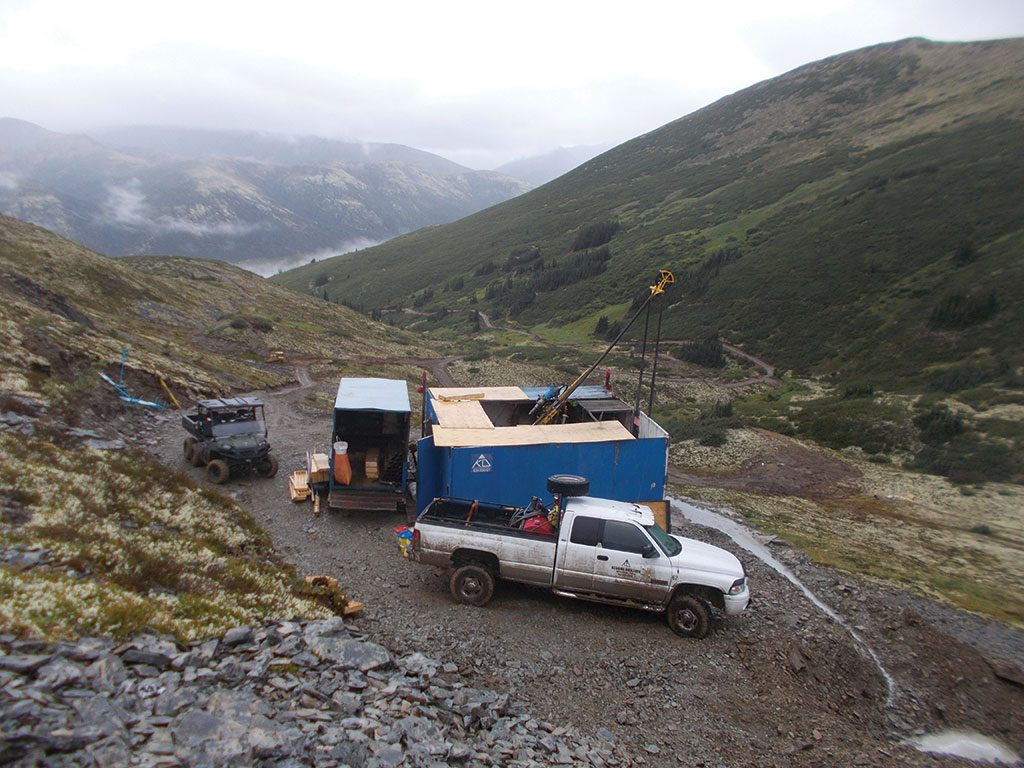 A drill station 1,600 metres above sea level at Stratabound Minerals' Golden Culvert gold project in the Yukon. Credit: Stratabound Minerals.