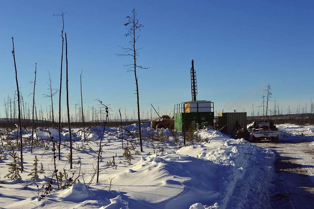 A drill rig at on Fission 3.0's Patterson Lake North uranium project in Saskatchewan. Credit: Fission 3.0.