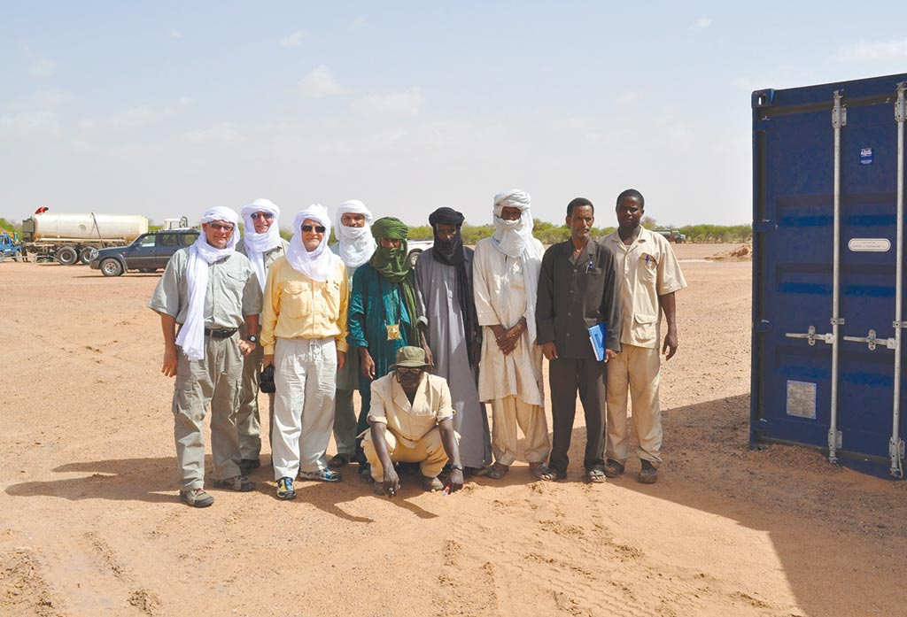 Global Atomic CEO Stephen Roman (third from left) with colleagues and local elders at the Dasa uranium property in Niger. Credit: Global Atomic.
