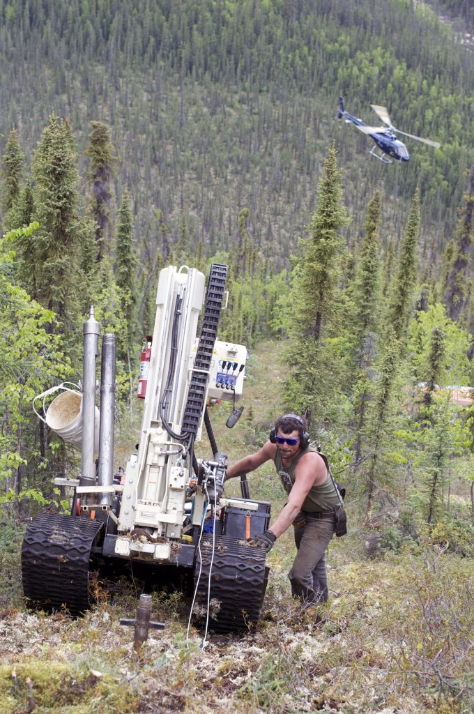 White Gold staff moves a GT Probe across the the company's White Gold district in Yukon. Credit: White Gold.