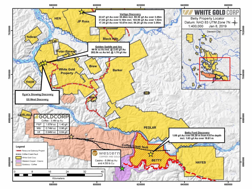 A map of White Gold's land position in the White Gold district. Credit: White Gold.