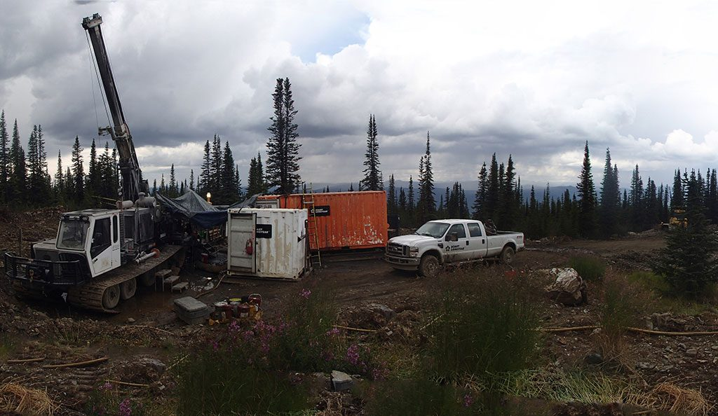 Two drill rigs operate at the Bermingham target. Credit Alexco Resource.