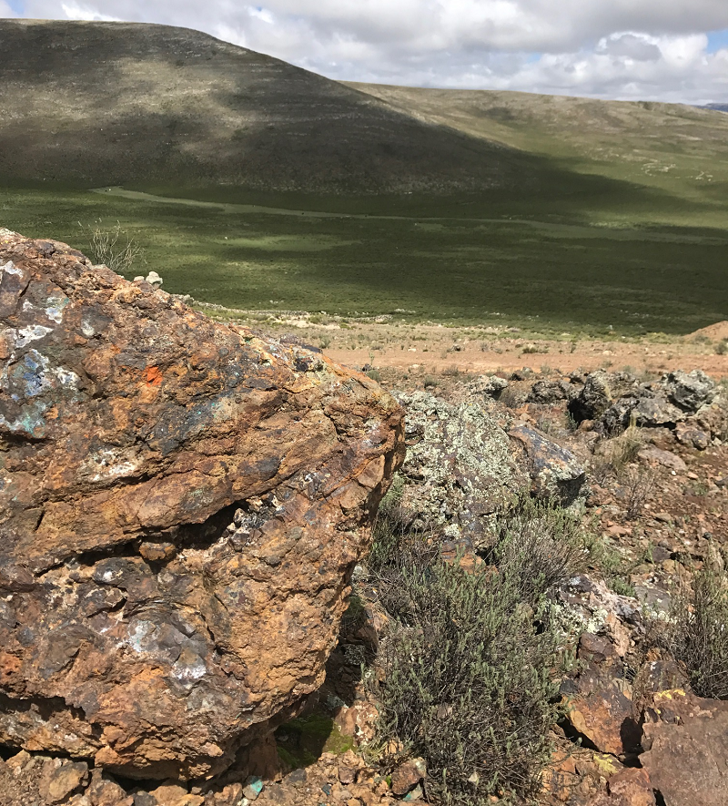 Outcropping mineralization on Auryn's Sombrero project. Credit: Auryn Resources.