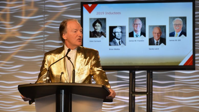 Pierre Lassonde, Franco-Nevada chairman, serving as master of ceremonies at the Canadian Mining Hall of Fame's induction ceremony held in Toronto in January 2019. Photo Credit: Keith Houghton Photography.