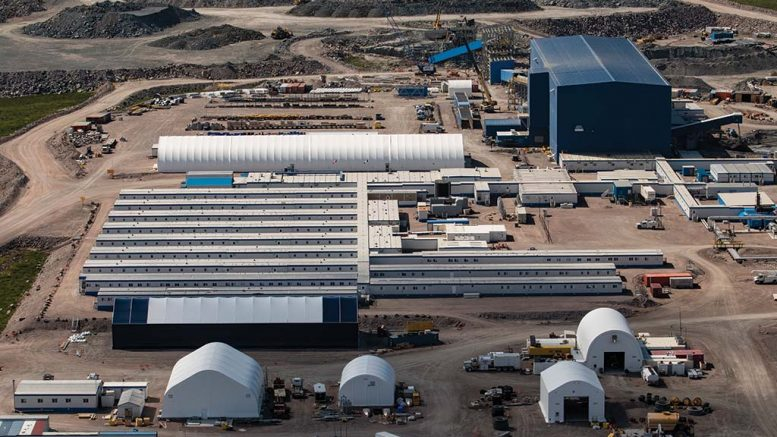 The camp at De Beers and Mountain Province Diamonds' Gahcho Kué diamondmine, 300 km northeast of Yellowknife, Northwest Territories. Credit: Mountain Province Diamonds.