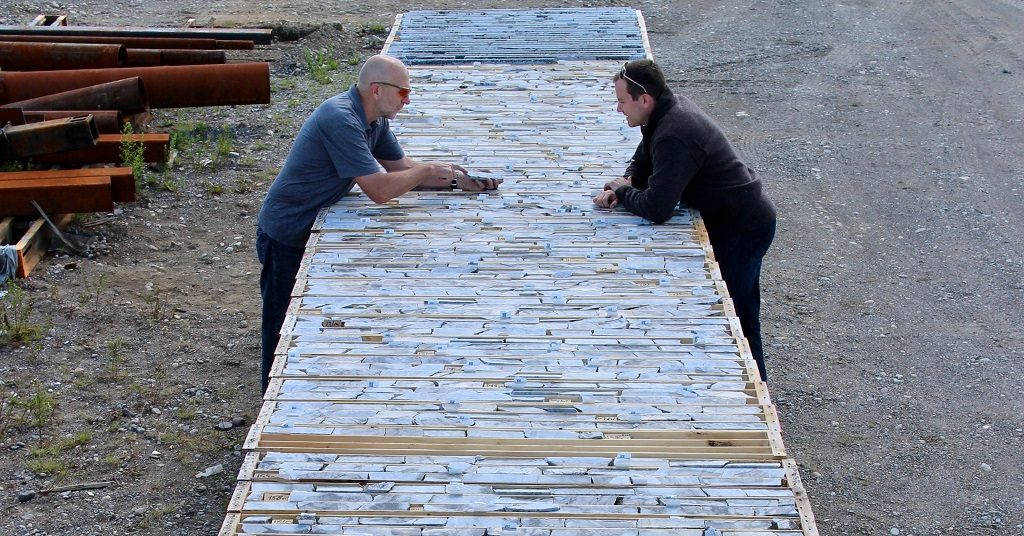 Frontier Lithium Inc.'s VP Exploration Garth Drever (left) and President & CEO Trevor R. Walker examine core from the PAK lithium deposit in northwestern Ontario, representing 155 metres of world-class, technical grade, low-iron spodumene. Credit: Frontier Lithium Inc.