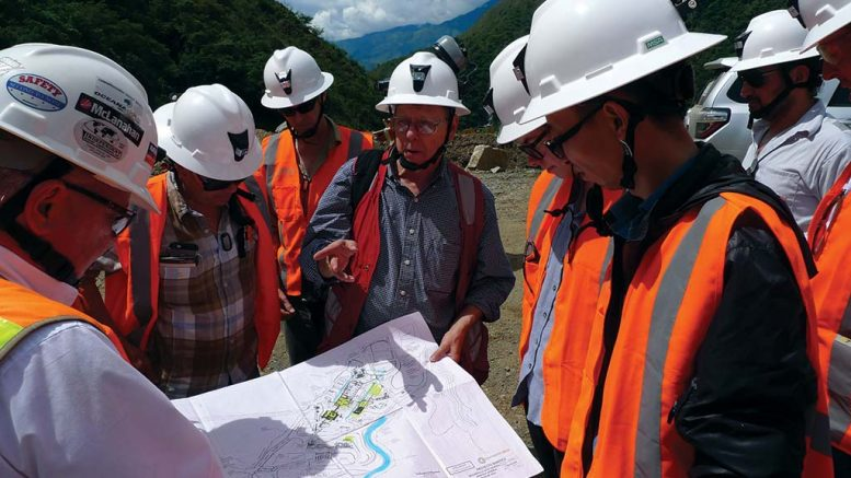 Continental Gold COO Donald Gray (centre) leads a tour at the Buritica gold project under construction near Antioquia, Colombia. Credit: Photo by David Perri.