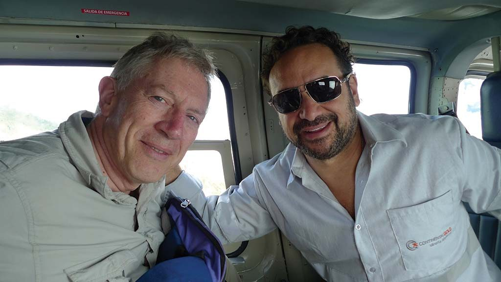 Continental Gold special advisor David Reading (left) and CEO Ari Sussman aboard a helicopter between Medellin and the Buritica gold project. Photo by David Perri.