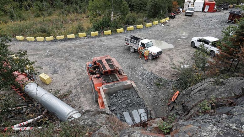 A truck hauls ore from test mining to the surface at the Madsen gold project. Credit: Pure Gold Mining.