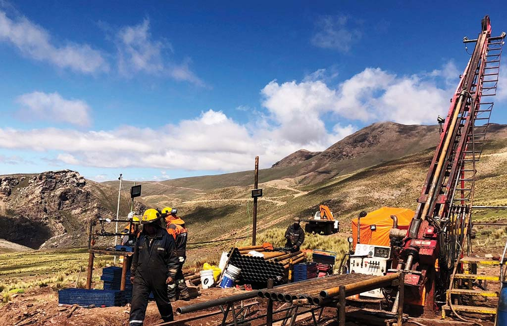 Drillers at New Pacific Metals' Silver Sand silver property in Bolivia. Credit: New Pacific Metals.