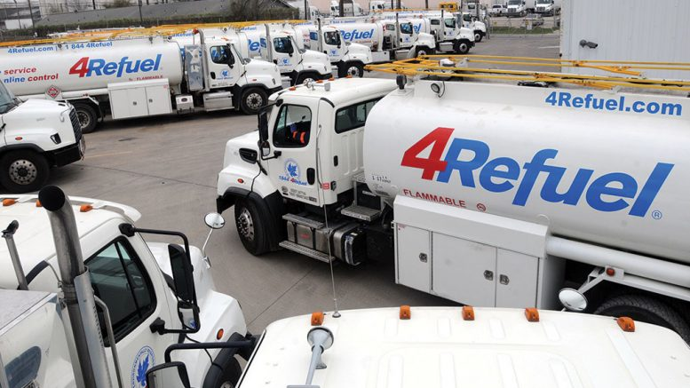 Part of 4Refuel's fleet of mobile refuelling trucks, which is now owned by Finning International. Credit: 4Refuel.