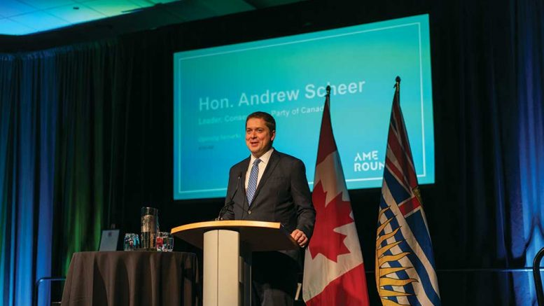 Federal Opposition Leader Andrew Scheer at AME Roundup 2019 in Vancouver. Photo credit: Velour Productions/AME.