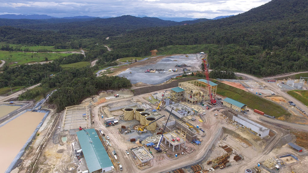 The process plant under construction, as seen on Jan. 31, 2019, at Lundin Gold's Fruta del Norte gold project in Ecuador. Credit: Lundin Gold.
