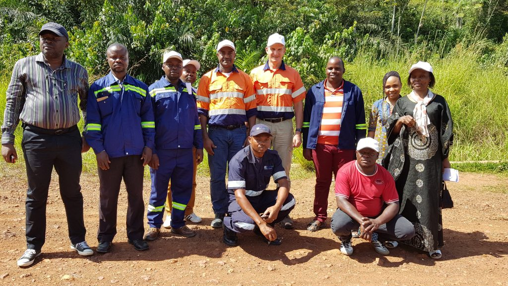 Alphamin CEO Boris Kamstra (centre) with members of the company's community development team. Credit: Alphamin Resources.