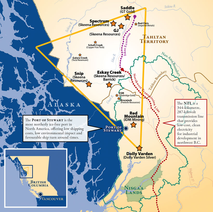 Map of northwestern British Columbia's Golden Triangle region, highlighting infrastructure and mining projects. Credit: British Columbia Regional Mining Alliance.