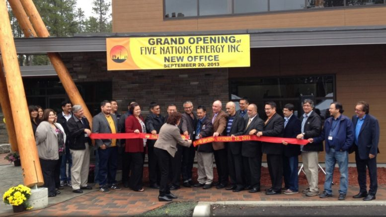 Opening the new office of Five Nations Energy Inc. near Timmins, Ont., in 2013. Credit: CreeWest newsletter.