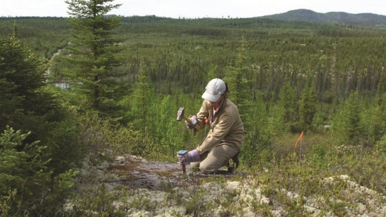 Looking northwest at a worker on Yorbeau Resources' Scott Lake gold property in Quebec. Credit: Yorbeau Resources Inc.