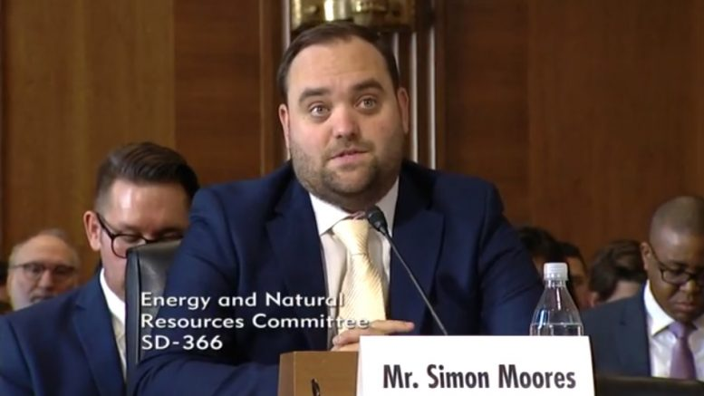 Simon Moores, managing director of battery minerals advisory firm Benchmark Mineral Intelligence, appears before a U.S. Senate committee for energy and minerals in February 2019. Credit: Screenshot from U.S. Senate website.