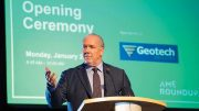 British Columbia Premier John Horgan addresses delegates in Vancouver at the AME Roundup in January. Photo credit: Velour Productions/AME.