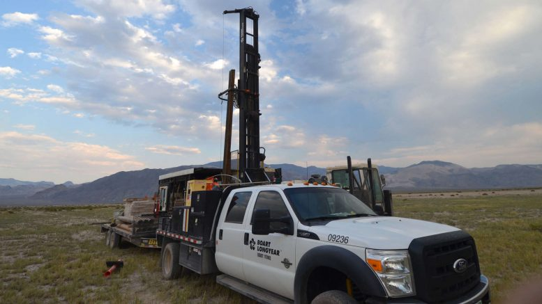 A drill rig at American Lithium's FLV lithium project in Nevada. Credit: American Lithium.