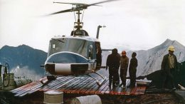 Loading core onto a helicopter at the Ertsberg East skarn system in Irian Jaya in 1975. Photo by William A. Fuchs.