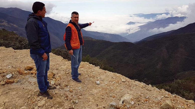 Salazar Resources geologist Carlos Aguila (right) at the Pijili project, which is being advanced by Adventus Zinc under the partners' Ecuador exploration alliance. Credit: Salazar Resources.