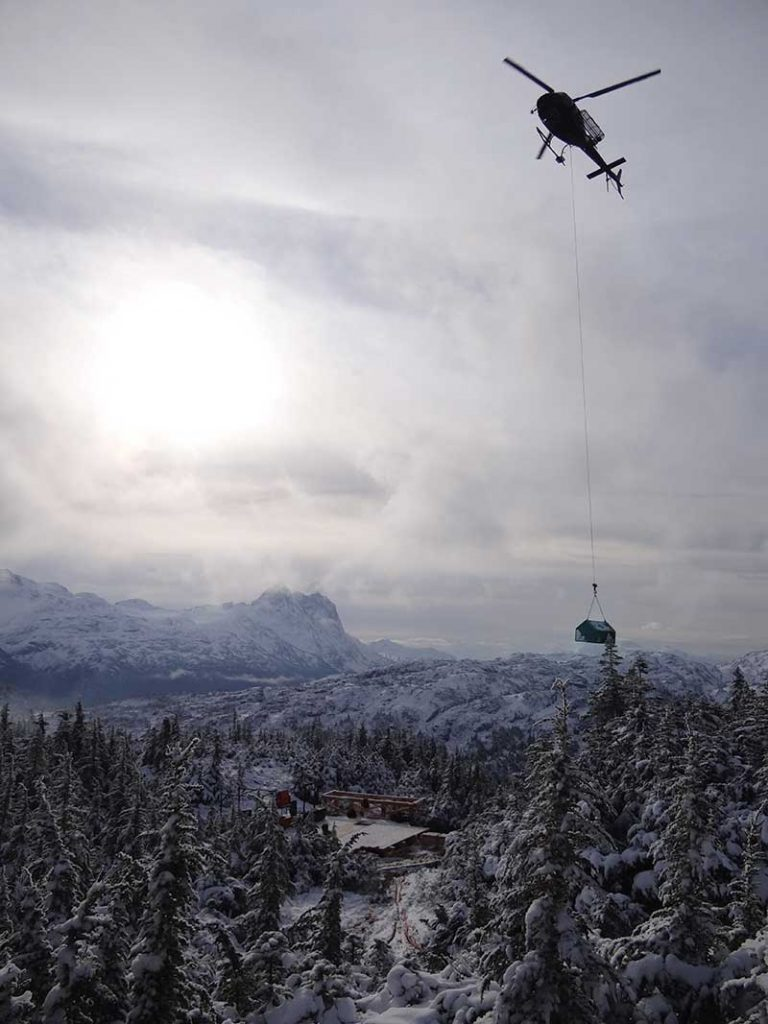 A helicopter carries a drill to the 22 zone at Skeena Resources' Eskay Creek gold property in northwestern B.C.'s Golden Triangle region. Credit: Skeena Resources.