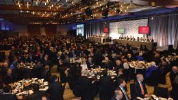 Master of ceremonies Pierre Lassonde addressing attendees at the 2019 Canadian Mining Hall of Fame induction ceremony at the Metro Toronto Convention Centre in January. Photo by Keith Houghton.