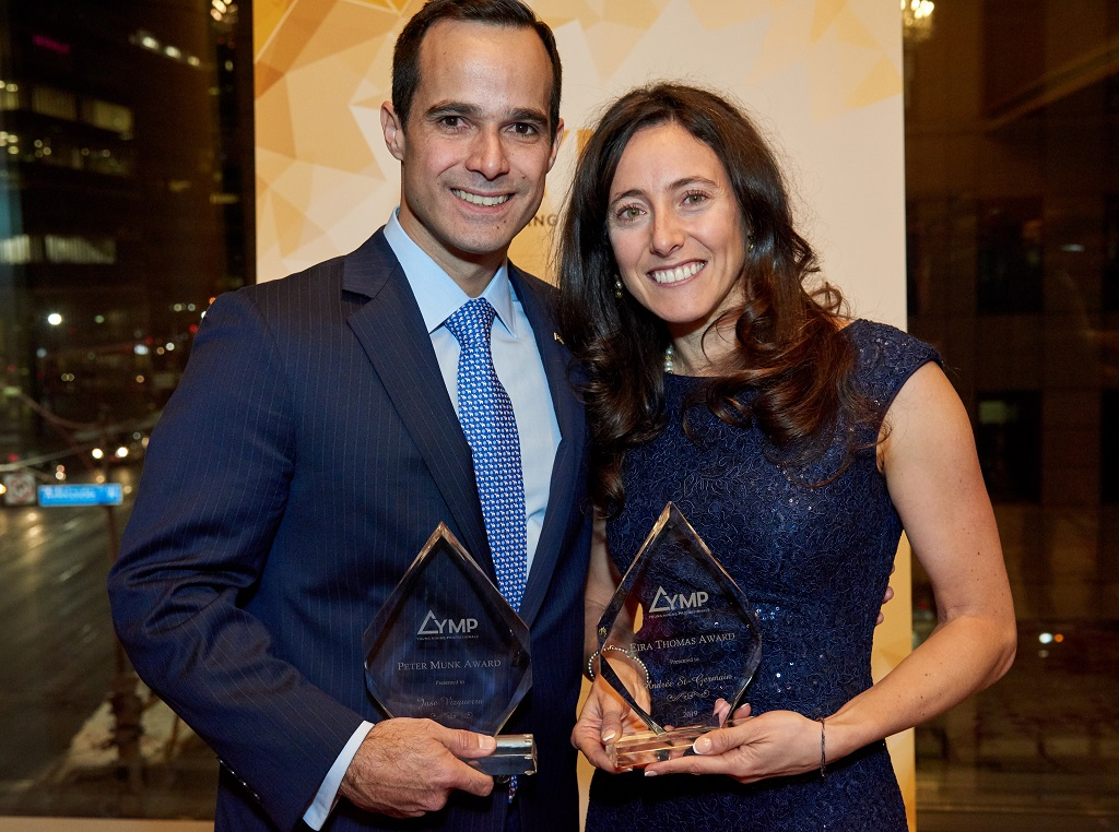 Jose Vizquerra, executive vice-president of strategic development and a director of Osisko Mining; and recipient of the YMP's 2018 Peter Munk Award; and Andrée St-Germain, chief financial officer of Integra Resources, and recipient of the YMP's 2018 Eira Thomas Award. Credit: YMP