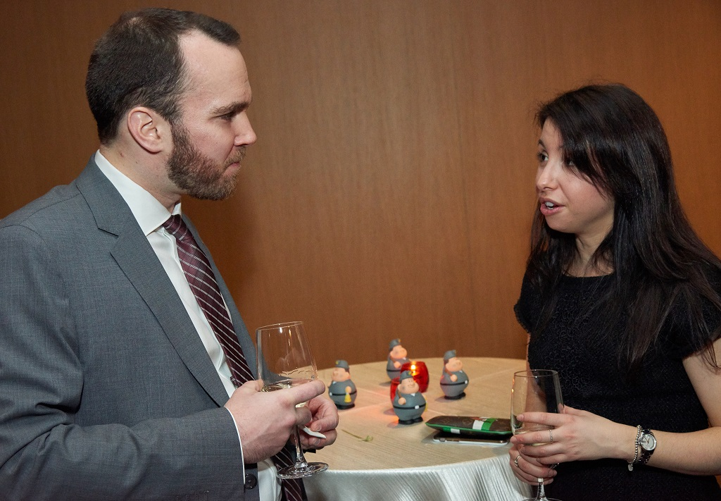 Alex Burelle, manager of investor relations and business development at Stornoway Diamond and managing partner of Vérendrye Capital; and Bianca Déprés, lawyer at McCarthy Tétrault and YMP Montreal co-president. Credit: YMP.