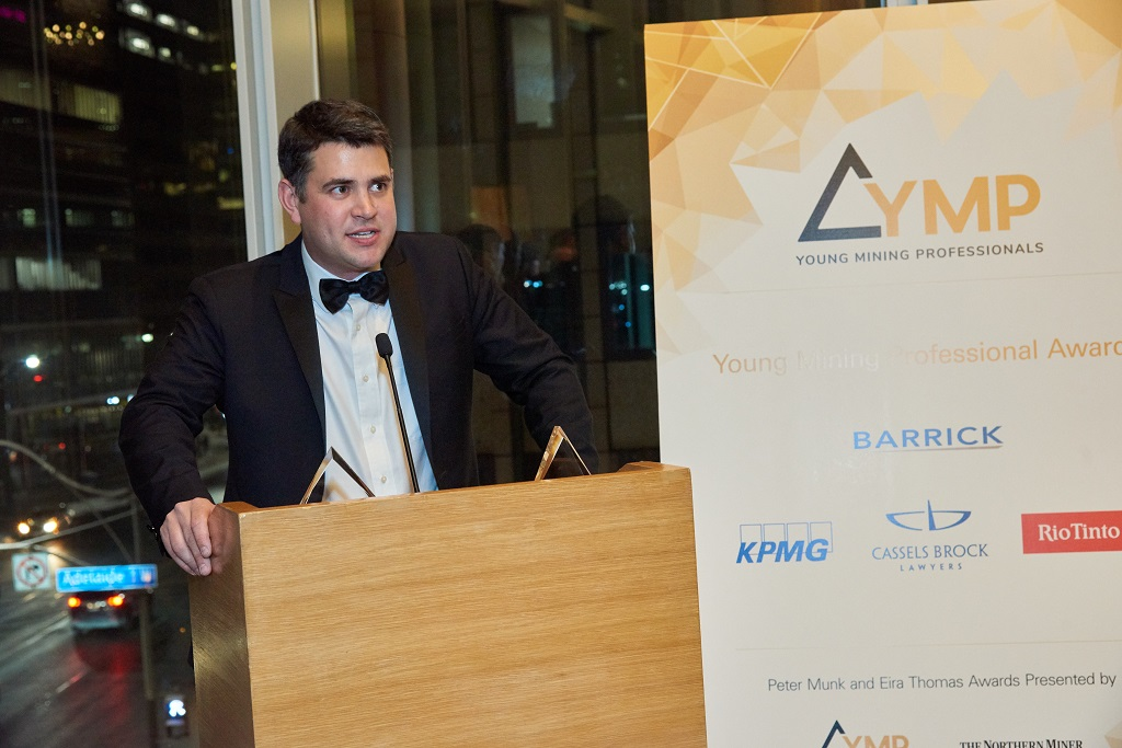 Anthony Moreau, business development and innovation manager at Iamgold, YMP Toronto director, and master of ceremonies for the YMP Awards evening in 2019. Credit: YMP.