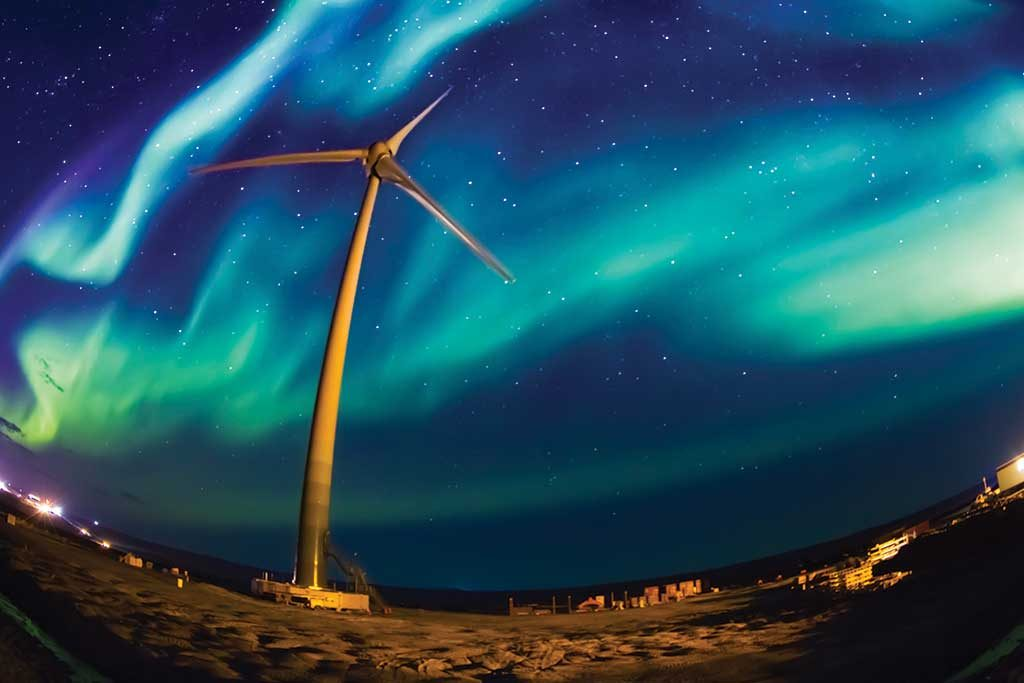 This year's Art of Mining photo contest winner shows Tugliq Energy's wind turbine, which powers Glencore's Raglan nickel mine in Quebec's Far North. Credit: Tugliq Energy & Raglan Mine.