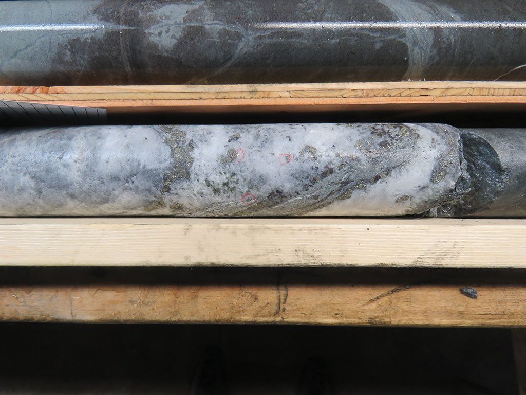 Visible gold on a section of the 88 vein discovery hole at Troubadour Resources' Privateer gold project on Vancouver Island. Credit: Troubadour Resources.