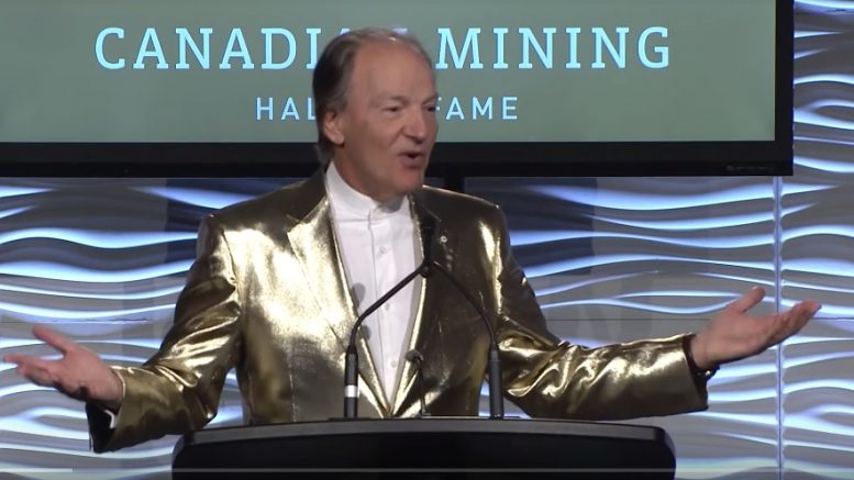 Pierre Lassonde, chairman of Franco-Nevada, serving as master of ceremonies at the Canadian Mining Hall of Fame's annual induction ceremony in January 2019 at the Metro Toronto Convention Centre. Credit: YouTube screenshot.