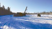 A drill rig targets the Point prospect from the frozen surface of East Ramsland Lake in February 2019 on MAS Gold's Preview Lake gold property, 60 km northeast of La Ronge, Saskatchewan. Credit: MAS Gold.