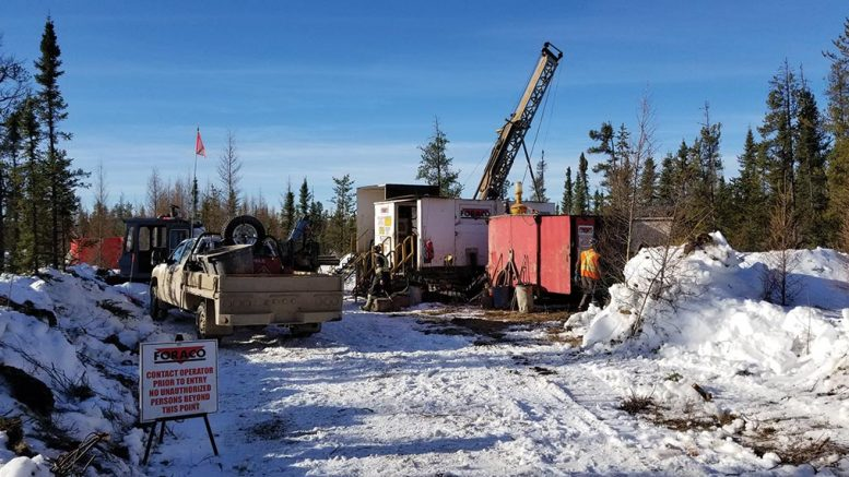 A drill rig at Osisko Metals' historic Pine Point lead-zinc project in the Northwest Territories. Credit: Osisko Metals.
