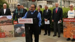 Representative Raúl M. Grijalva (D-Ariz.), chair of the Subcommittee on Energy and Mineral Resources, (at podium) speaking at the Mining Reform Press Conference on May 9, 2019.